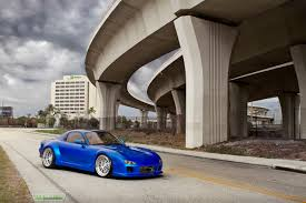 widebody rx7 widebody mazda rx 7 blue on iss forged wheels stitched production