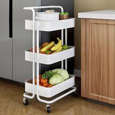 kitchen storage cupboard on wheels 3 tier rolling utility cart storage shelves multifunction storage trolley service cart with handles and roller wheels easy assembly for home bathroom