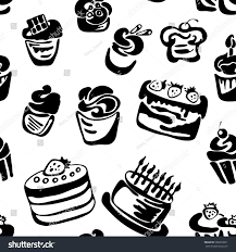 black white cake sweets seamless pattern stock vector 598972091