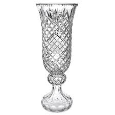 Hurricaine Vase Handmade Glass Oxford European Hand Cut Crystal Paneled Hurricane