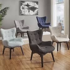 Fabric Accent Chair Alida Button Tufted Linen Fabric Accent Chair Inspire Q Modern