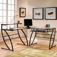 Black Tempered Glass Computer Desk Desk Monarch Black Metal L Shaped Computer Desk Tempered Glass