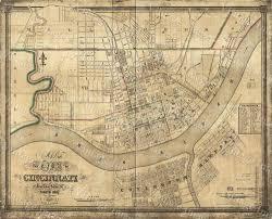 Home Decor Cincinnati by Old Map Of Cincinnati Historic 1838 Cincinnati Ohio Street Map