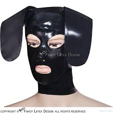 rubber halloween mask 2017 black latex hood with zipper back open eyes and nose mouth