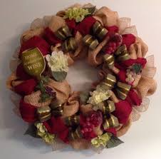 wine themed burlap wreath burgundy and moss green ribbon with