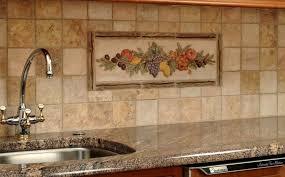 backsplash medallions kitchen fruit backsplash medallions with granite countertop and reddish