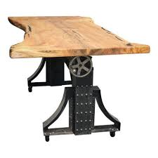 live edge industrial crank mechanism dining table on wheels