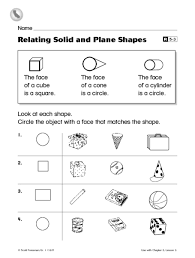 relating solid and plane shapes 1st grade worksheet lesson planet