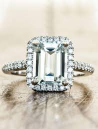 Aquamarine Wedding Rings by Stella Halo Emerald Cut Aquamarine Engagement Ring Ken U0026 Dana