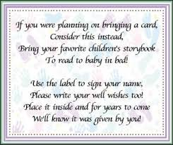 book instead of card baby shower poem bring a book baby shower w new question