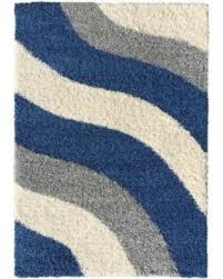 Shaggy Rugs For Living Room Fall Sale Soft Shag Area Rug 3x5 Geometric Striped Ivory Blue