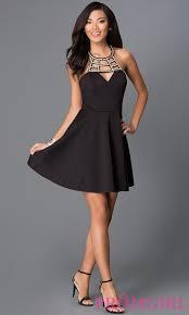 little black dress cut out neckline promgirl