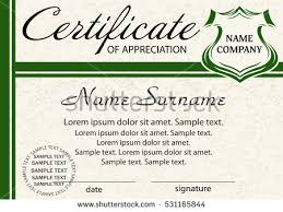 sample text for certificate of appreciation template certificate diploma elegant green design stock vector