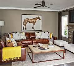 mustard leather sectional sofa living room traditional with