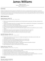 Sample Resume For A Nurse pharmacy technician resume sample resumelift com