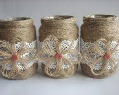 Burlap Wedding Centerpieces by 3 Pink Burlap And Lace Covered Mason Jar Vases Wedding Bridal