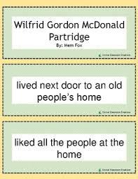 and sequencing cards wilfrid gordon mcdonald partridge grades 1