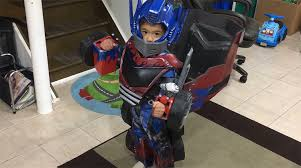 dad creates an awesome optimus prime costume for his son that
