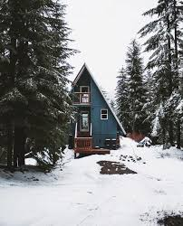 blue a frame cabin in the pacific northwest cabin getaway