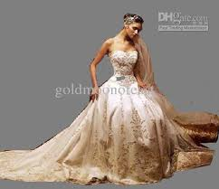discount beautiful ivory dress gold embroidery sweetheart a line