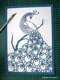 tri colour papercutting template a4 peacock diy kit