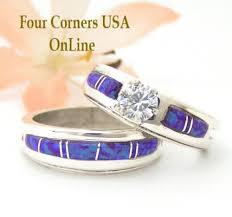 Native American Wedding Rings by Size 7 1 2 Blue Fire Opal Bridal Wedding Ring Set Native American