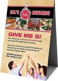 standard table tent card size bowling rewards