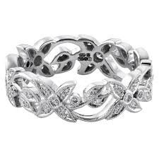 floral wedding band 18ct white gold 6mm floral 0 30ct diamond wedding band