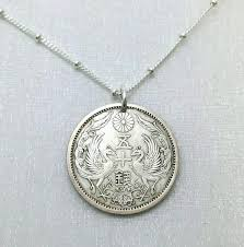 antique silver necklace pendant images Silver coin necklace antique japanese silver coin phoenix jpg