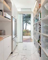 Modern Galley Kitchen Design Surprising Design Ideas Using Rectangular White Rugs And