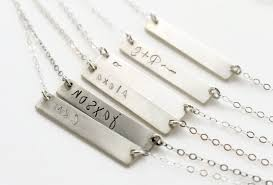 Sterling Silver Nameplate Necklace Name Plate Necklace Sterling Silver Bar Oblacoder