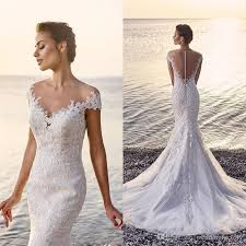 beach lace mermaid wedding dress 2017 fit and flare see