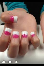 white tip and pink sparkle powder french acrylics nails