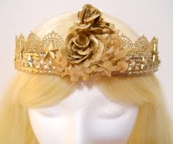 golden roses gold crown with golden roses silver flower tiara