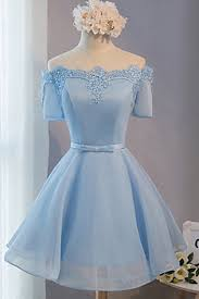 light blue tulle a line short sleeves off shoulder short prom