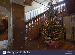 a decorated christmas tree in the staircase hall at standen house