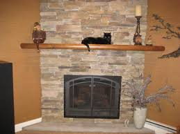 fresh stacked stone wood burning fireplace 2144