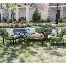 jasper 4 piece aluminum patio conversation set with blue cushions