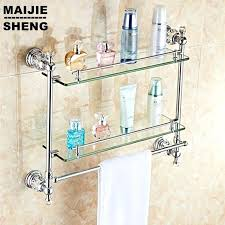 Bathroom Glass Shelves With Rail Burlington Bathrooms Glass Shelf With Rail 55cm Bathroomandcouk