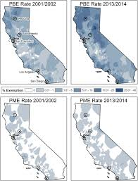Redding California Map Personal Belief Exemptions To Vaccination In California A Spatial