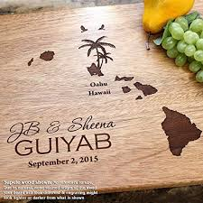 cutting board wedding gift hawaii destination wedding personalized engraved cutting board