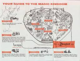 Disney Map Insights And Sounds Disneyland Map Autographed By Walt Disney