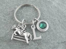 personalized birthstone keychains show jumping keychain equestrian keyring initial keychain