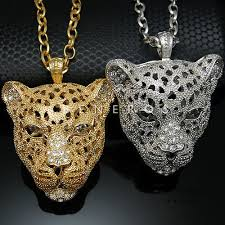animal gold necklace images Leopard head pendant chain necklace gold silver mens animal cat jpg