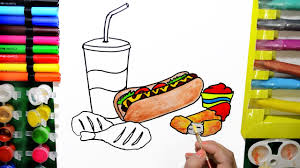 draw color paint fast food dog grilled chicken coloring