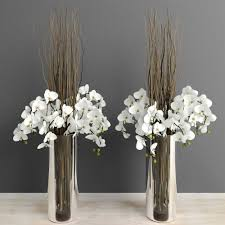 White Tall Vases White Orchids With Willow Branches In Tall Glass Vase 3d Model Max