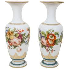 Vases Of Roses Pair Of Antique Opaline Glass Vases With Hand Painted Roses And