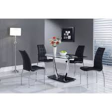 Glass And Chrome Dining Table Camila Dining Table Chrome Legs Glass Top Black Base Dcg Stores