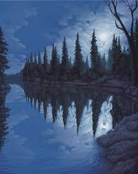 women lake trees