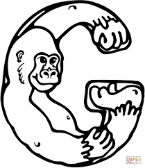 letter g is for gorilla coloring page free printable coloring pages